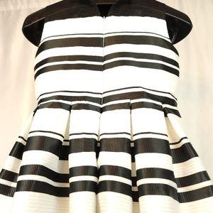 Pippa & Julie Black/White Ribbon Striped Dress